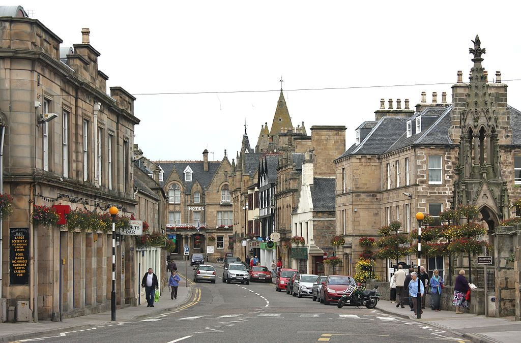 Image of the High Street of the Highland Community of Tain