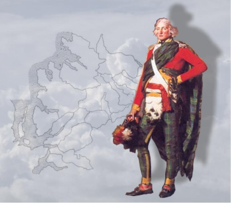 Sir John Sinclair, Baronet of Ulbster in Caithness (Image taken from Raeburn painting) with background of west coast outline