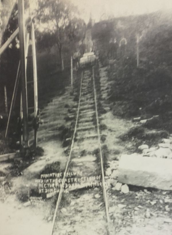 And a photograph of the miniature railway used in the construction of the Macdonald Memorial on Mitchell Hill.