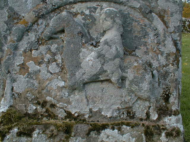 Close up of the horse and unarmed rider from the lower panel on the Pictish Stone.