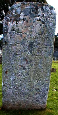 The west face of the Pictish stone showing the Celtic Ring Cross.