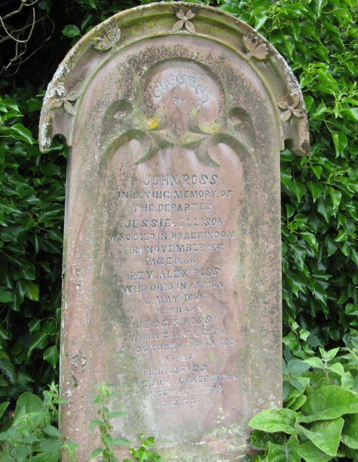 Family gravestone of Alexander Ross in Urquhart Old cemetery.