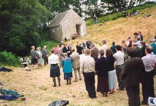 Communion service 1996 conducted by Rev Alistair Maclennan of Resolis and Urquhart Church of Scotland.