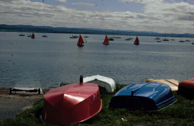 The moorings for Chanonry Yacht Club, Fortrose harbour.