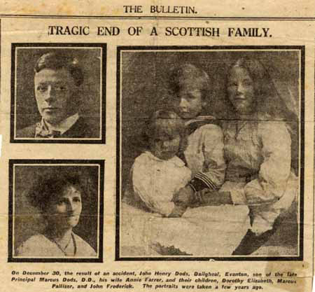 Cutting about the Dods Family who were on the Natal