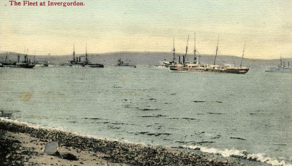 Old postcard of the Fleet at Invergordon.