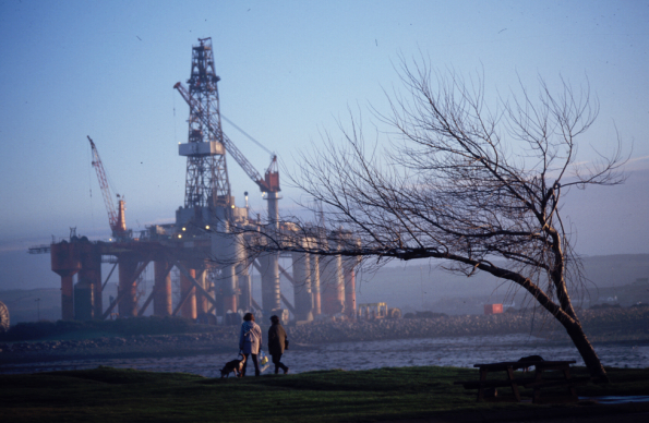 A walk along the shoreline with good views of the oil rigs.