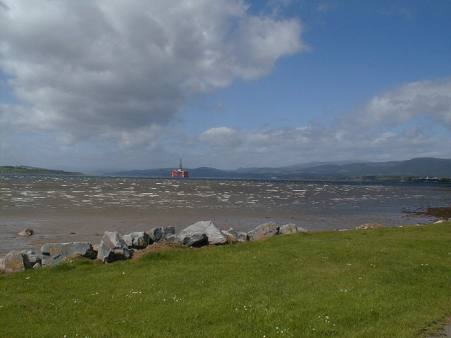 Looking west along the Cromarty Firth from the beach at the west end of Invergordon