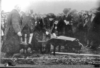 Lady Bignold cutting the first sod of the Cromarty and Dingwall railway line (sic) on 13 February 1914
