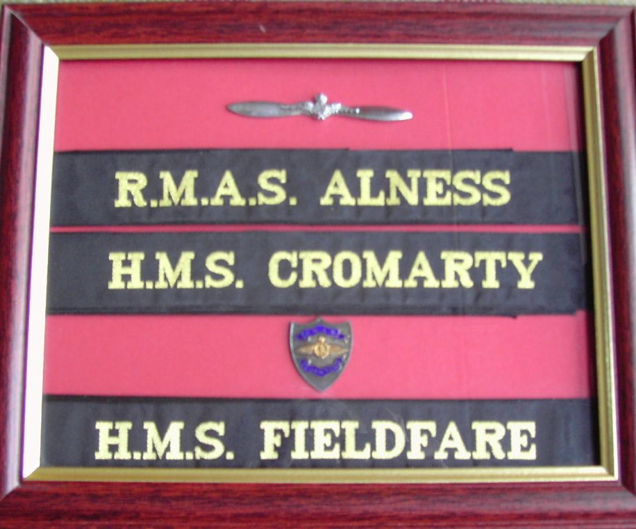 The badge above the name strip is also of HMS Fieldfare (private collection).  Photo RCHS.