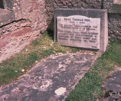 Gravestone of the Rev Thomas Hog 1628-1682.