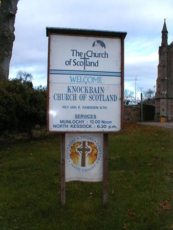 Knockbain Church noticeboard