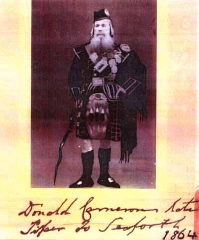 Donald Cameron, Piper to Keith Stewart Mackenzie of Seaforth, in 1864