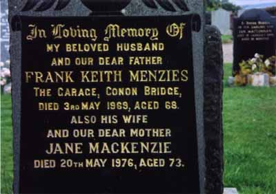 Grave of Frank and his wife Jane Menzies