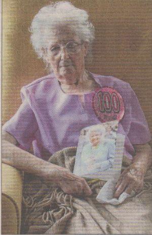 Mrs Margaret Mackay on 3 October 2014, celebrating her 100th birthday