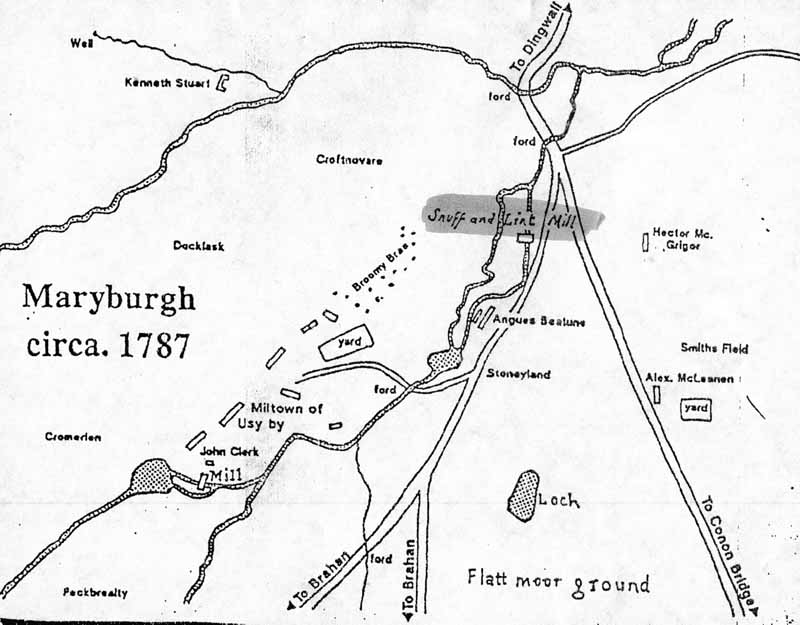 The location of the SNUFF and LINT MILL is shown on an ESTATE MAP dated 1787