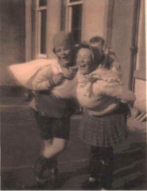Nurse Shirley Maureen Booth on left with her friend and fellow nurse, Mary Ledingham, from Invergordon.  They each dressed up to entertain the children.
