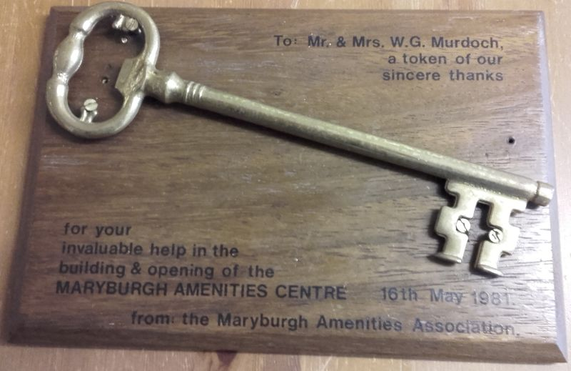 The symbolic key presented to Mr and Mrs Murdoch in appreciation of their support.