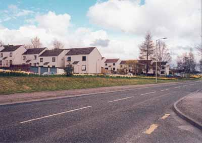 Some of the Wrightfield Park houses showing the landscaped bank between the houses and the main road.