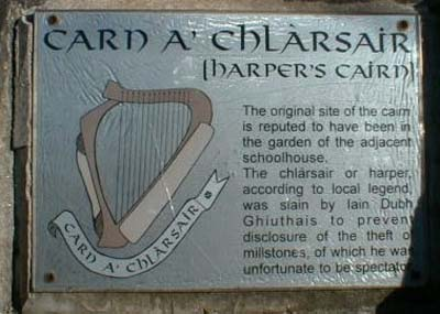 The plaque on Harper's Cairn