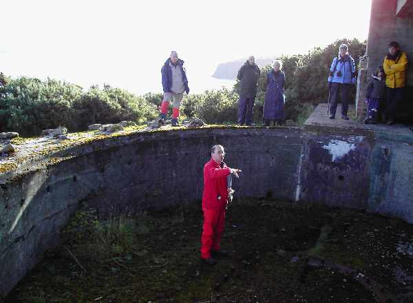 Allan Kilpatrick of RCAHMS in the pit of the second large gun emplacement (2008)