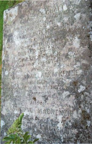 The grave of Barbara (Clark) Mackenzie, her parents, her brothers and her daughter.