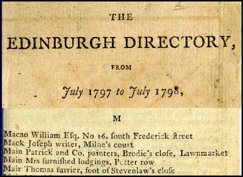 Listing of William Macao in the Edinburgh Directory