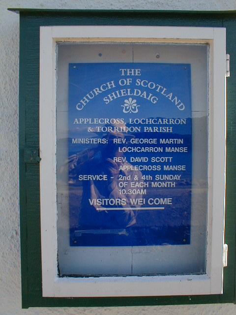 The Church of Scotland sign, Shieldaig