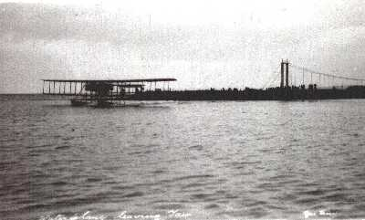 1914 - Royal Navy Air Service seaplane taking off from Tain River.