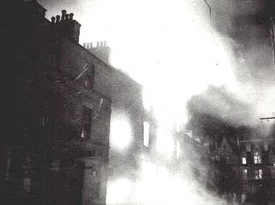 1957 High Street ironmonger's shop of Wallace & Fraser burning down.