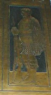 Detail from the 1919-1918 plaque - the figure of a kilted soldier with a rifle