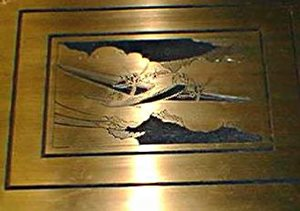 Detail from the 1939-1945 plaque - an aircraft.