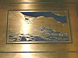 Detail from the 1939-1945 plaque - a naval vessel.