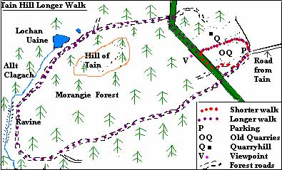 Route map of Tain Hill longer walk