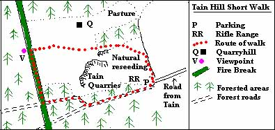 Route map of Tain Hill short walk