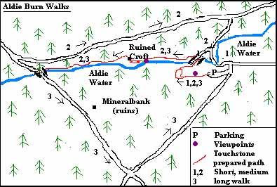 Route map of Aldie Burn walks