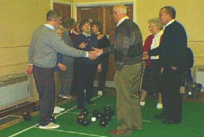 Indoor Bowls 2  Handshakes all round