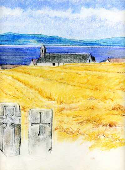 Tarbat Old Parish Church or the Church of St Colman at Portmahomack, Easter Ross, with the Dornoch Firth in the background.