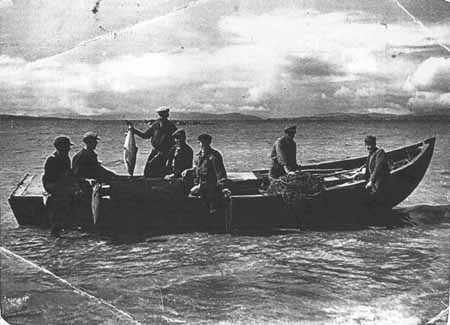 Salmon fishing at Red Point late 1940s.