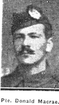 Macrae Donald, Pte, Glasgow connections to Dingwall