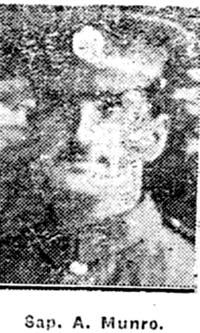 Munro Alexander, Sapper, Dingwal