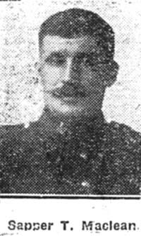Maclean Thomas, Sapper, Dingwall