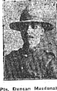 Macdonald Duncan, Pte, Torridon