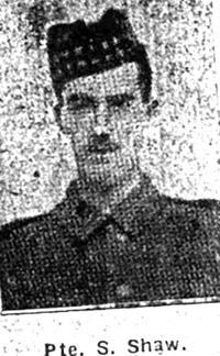 Shaw Stanley, Pte, Grantham Seaforths