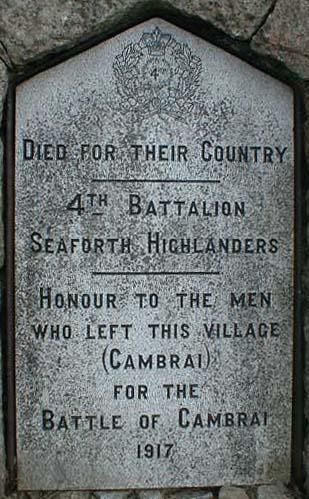 Cambrai War Memorial Plaque No 2