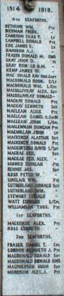 Dingwall Civic War Memorial plaque No. 2