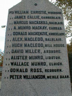 Edderton War Memorial - names of fallen