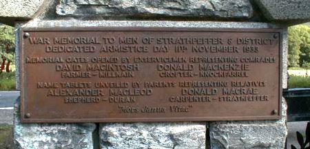 Fodderty War Memorial - Inside right gatepost.