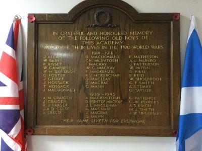 Fortrose Academy war memorial plaque