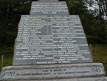 Garve War Memorial - Inscriptions
